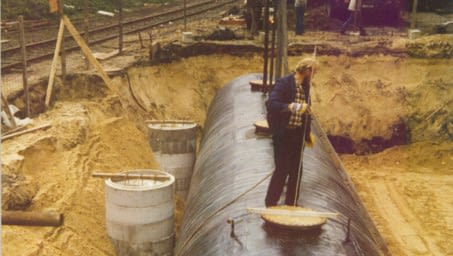 Construction site solvent tanks 1985