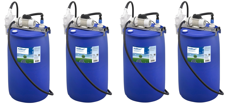 Vier Fässer mit AdBlue Zubehör