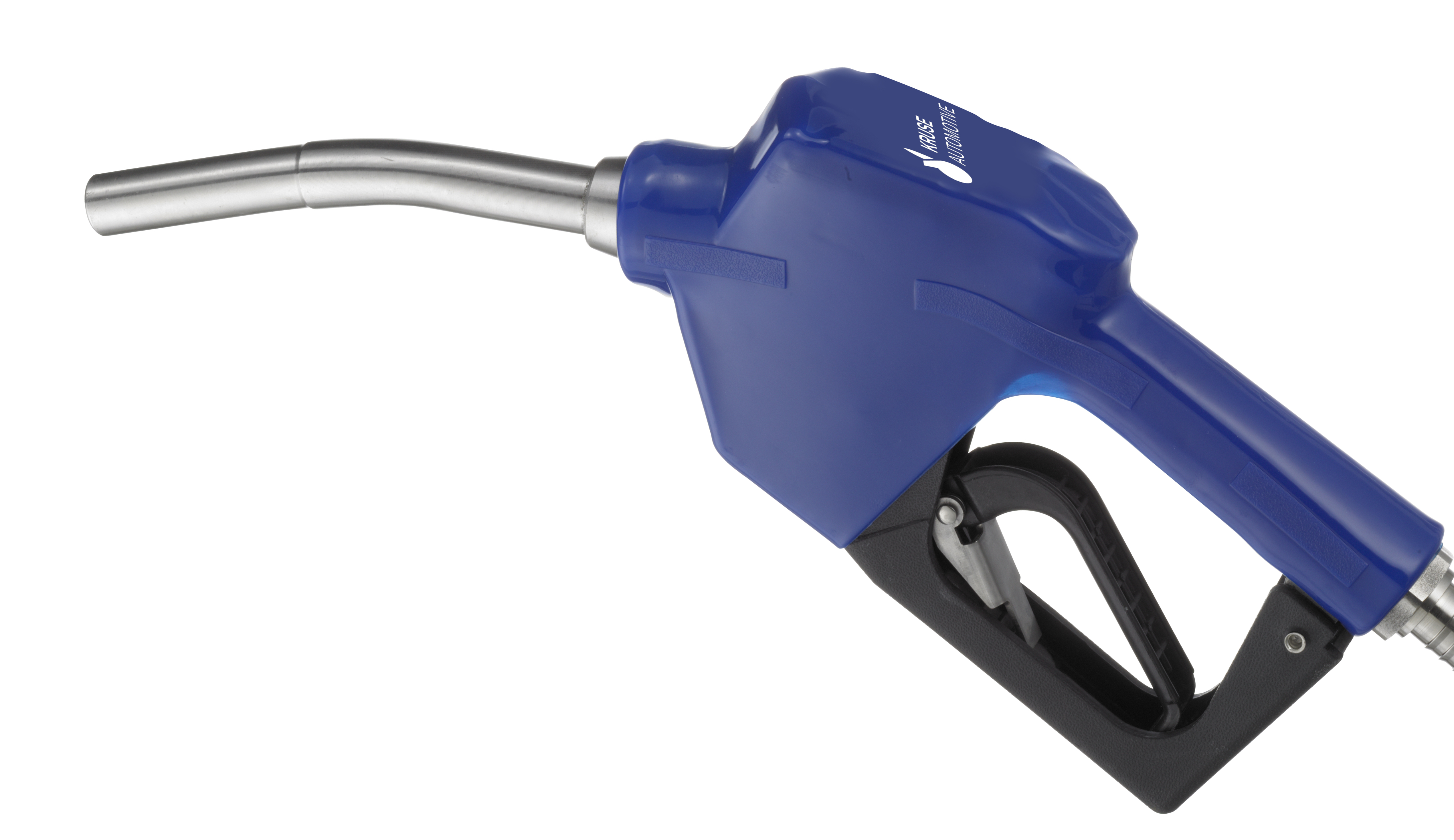 Blaue AdBlue® Zapfpistole auf weißem Hintergrund