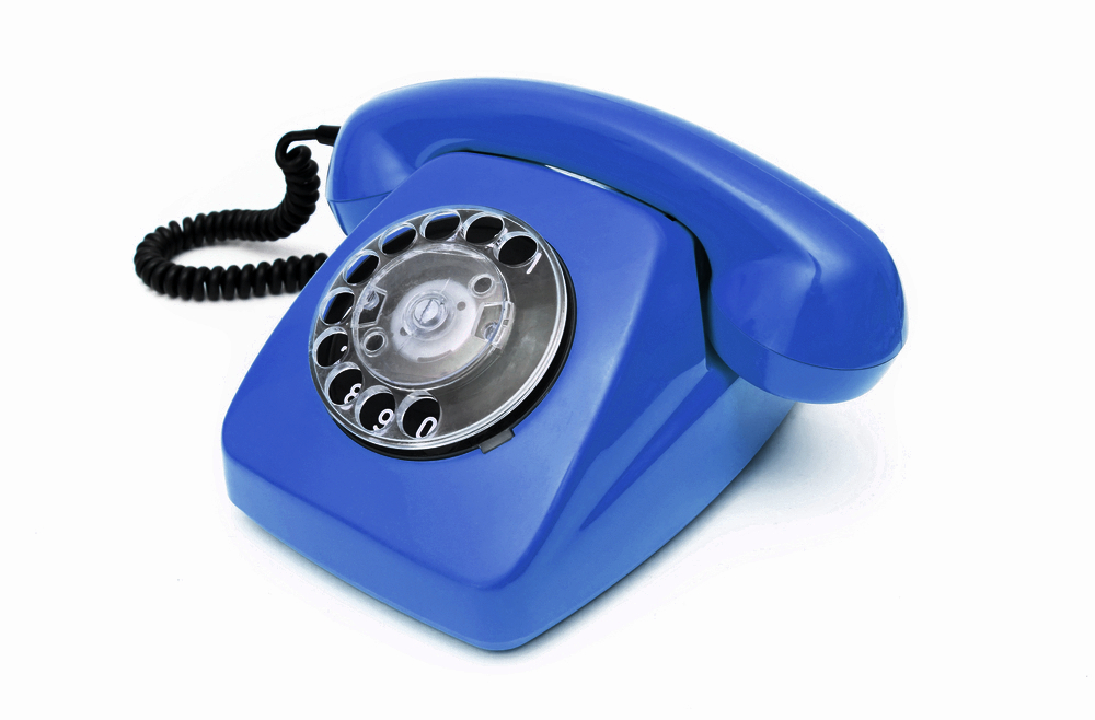 Blue telephone for contact