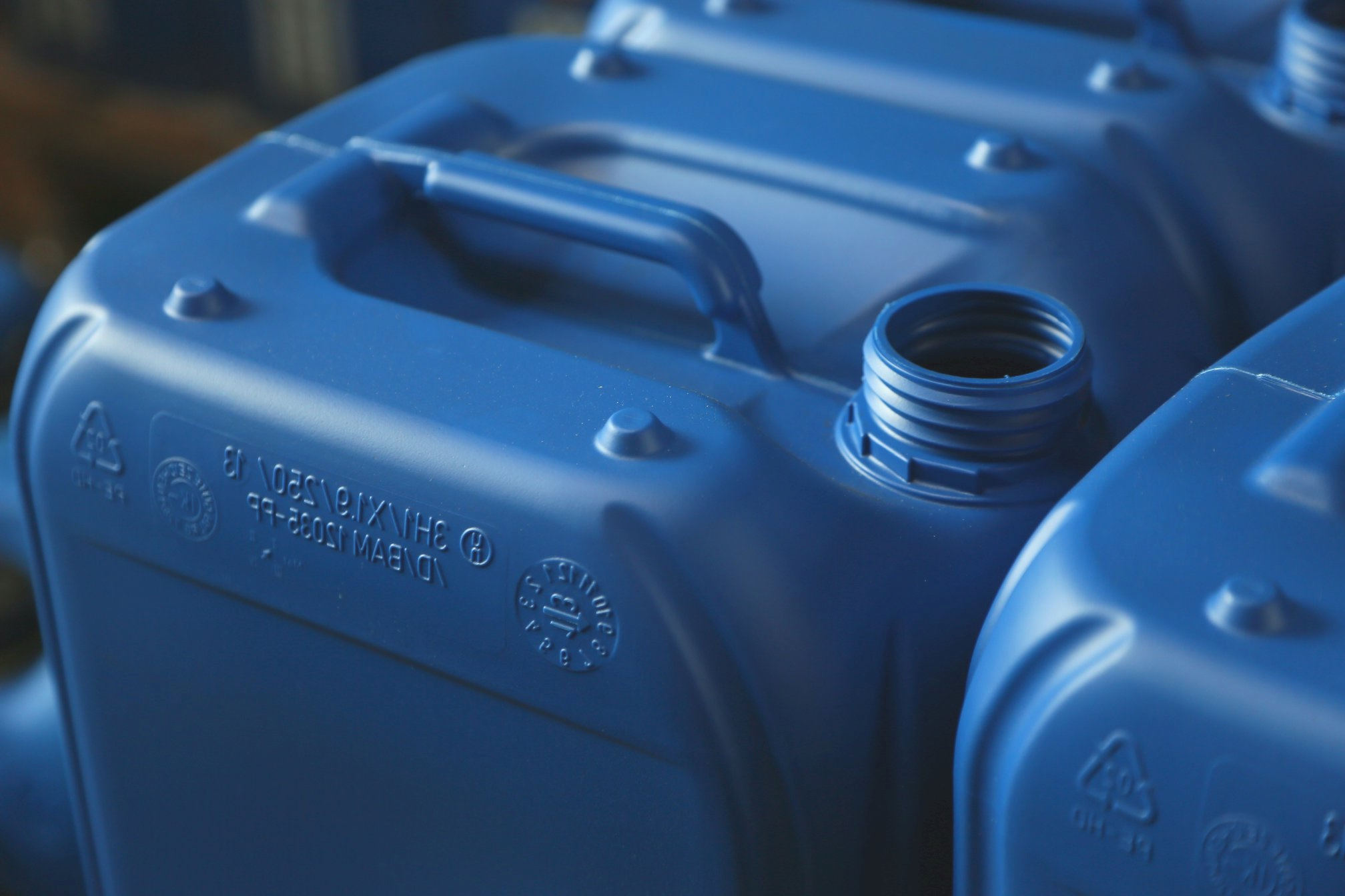 Close-up of blue canister