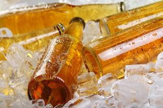 Yellow glass bottles on ice