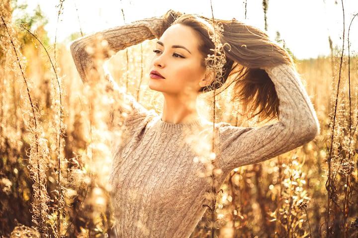 Woman in a corn field